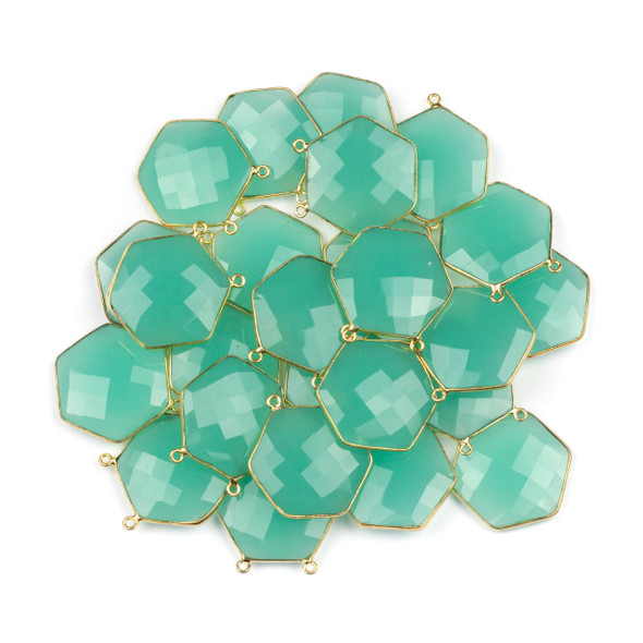 Aqua Chalcedony 29mm Faceted Hexagon Pendant Drop with a Gold Plated Brass Bezel and 2 Loops - 1 per bag
