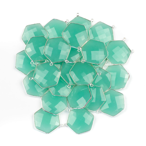 Aqua Chalcedony 29mm Faceted Hexagon Pendant Drop with a Silver Plated Brass Bezel and 2 Loops - 1 per bag