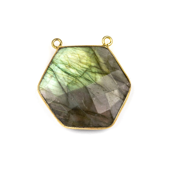 Labradorite 29mm Faceted Hexagon Pendant Drop with a Gold Plated Brass Bezel and 2 Loops - 1 per bag