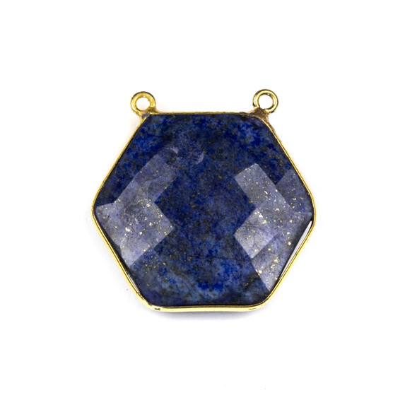 Lapis 29mm Faceted Hexagon Pendant Drop with a Gold Plated Brass Bezel and 2 Loops - 1 per bag