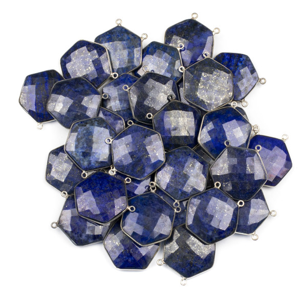 Lapis 29mm Faceted Hexagon Pendant Drop with a Silver Plated Brass Bezel and 2 Loops - 1 per bag