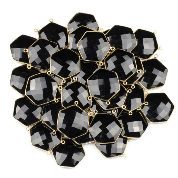 Onyx 29mm Faceted Hexagon Pendant Drop with a Gold Plated Brass Bezel and 2 Loops - 1 per bag