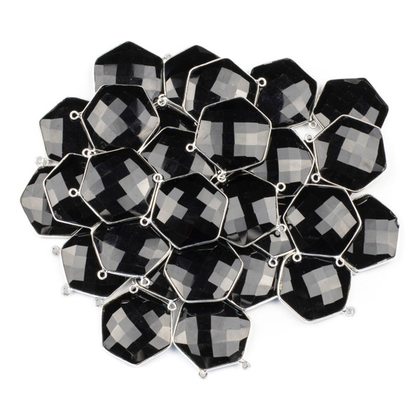 Onyx 29mm Faceted Hexagon Pendant Drop with a Silver Plated Brass Bezel and 2 Loops - 1 per bag