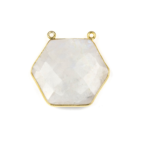 Moonstone 29mm Faceted Hexagon Pendant Drop with a Gold Plated Brass Bezel and 2 Loops - 1 per bag
