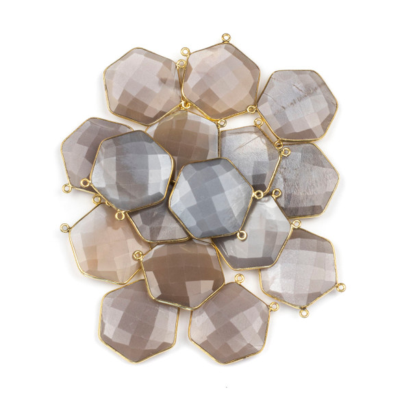 Mystic Moonstone 29mm Faceted Hexagon Pendant Drop with a Gold Plated Brass Bezel and 2 Loops - 1 per bag