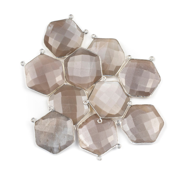 Mystic Moonstone 29mm Faceted Hexagon Pendant Drop with a Silver Plated Brass Bezel and 2 Loops - 1 per bag