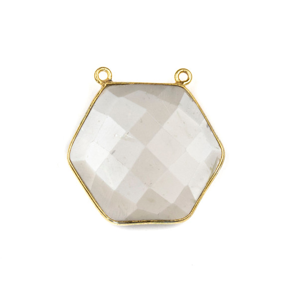 Grey Moonstone 29mm Faceted Hexagon Pendant Drop with a Gold Plated Brass Bezel and 2 Loops - 1 per bag
