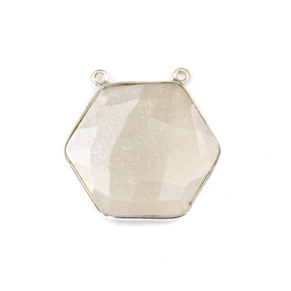 Grey Moonstone 29mm Faceted Hexagon Pendant Drop with a Silver Plated Brass Bezel and 2 Loops - 1 per bag