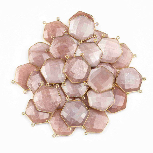 Peach Moonstone 29mm Faceted Hexagon Pendant Drop with a Gold Plated Brass Bezel and 2 Loops - 1 per bag