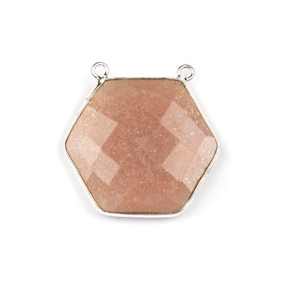 Peach Moonstone 29mm Faceted Hexagon Pendant Drop with a Silver Plated Brass Bezel and 2 Loops - 1 per bag