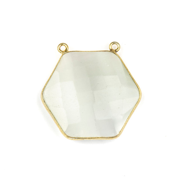 Mona Lisa Quartz 29mm Faceted Hexagon Pendant Drop with a Gold Plated Brass Bezel and 2 Loops - 1 per bag