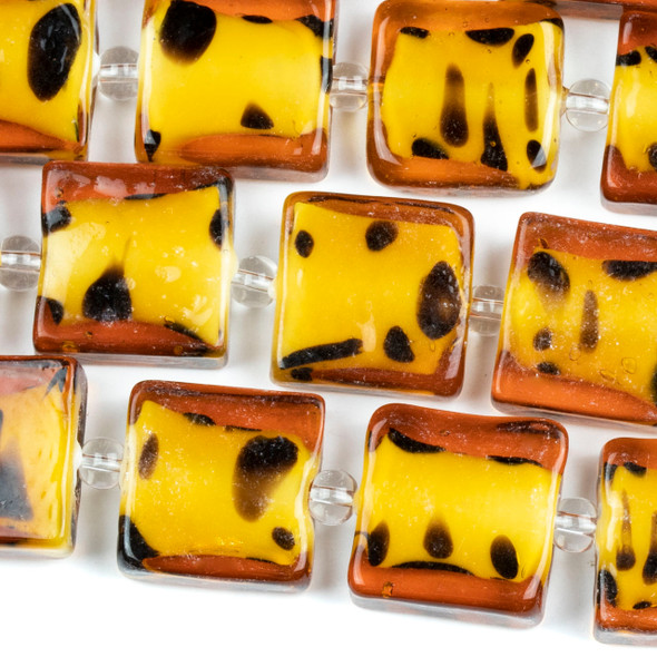 Handmade Lampwork Glass 15mm Cheetah Print Rectangle Beads
