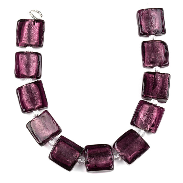 Handmade Lampwork Glass 15mm Amethyst Purple Square Beads with a Silver Foil Center