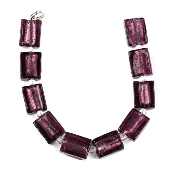 Handmade Lampwork Glass 12x16mm Amethyst Purple Rectangle Beads with a Silver Foil Center