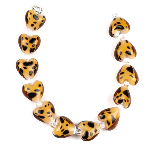 Handmade Lampwork Glass 15mm Cheetah Print Heart Beads