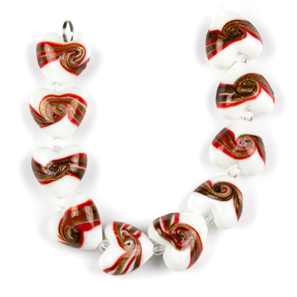 Handmade Lampwork Glass 20mm White Hearts with Red and Gold Foil Swirl