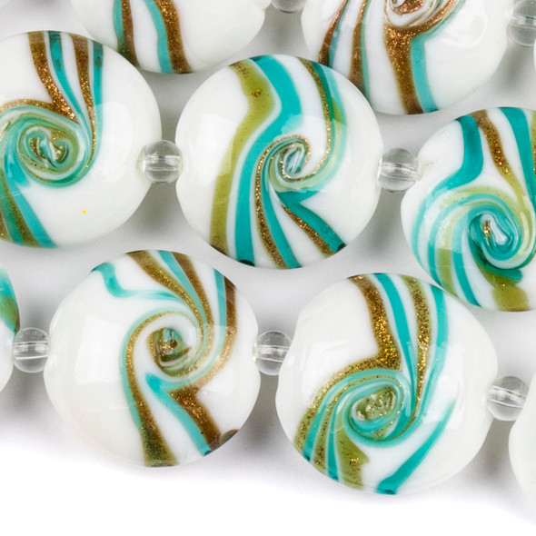 Handmade Lampwork Glass 20mm White Coin Beads with Aqua, Amber, and Gold Foil Swirls