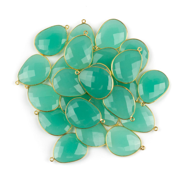 Aqua Chalcedony 22x30mm Faceted Free Form Drop with a Gold Plated Brass Bezel and Loop - 1 per bag