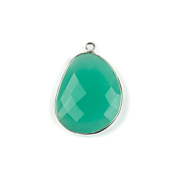 Aqua Chalcedony 22x30mm Faceted Free Form Drop with a Silver Plated Brass Bezel and Loop - 1 per bag
