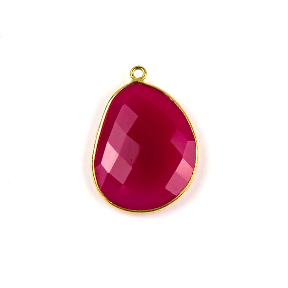 Hot Pink Chalcedony 22x30mm Faceted Free Form Drop with a Gold Plated Brass Bezel and Loop - 1 per bag
