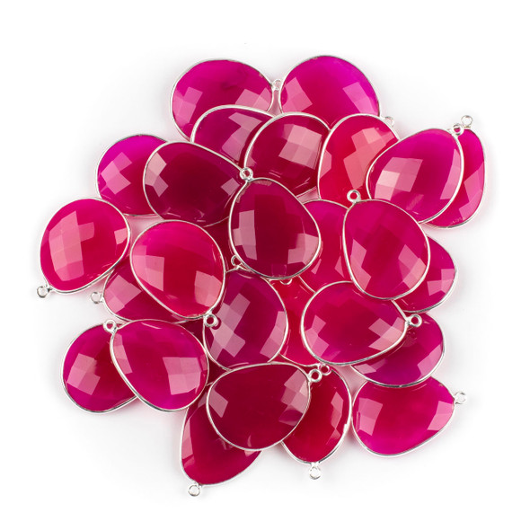 Hot Pink Chalcedony 22x30mm Faceted Free Form Drop with a Silver Plated Brass Bezel and Loop - 1 per bag