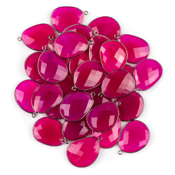 Hot Pink Chalcedony 22x30mm Faceted Free Form Drop with a Gun Metal Plated Brass Bezel and Loop - 1 per bag