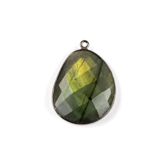 Labradorite 22x30mm Faceted Free Form Drop with a Gun Metal Plated Brass Bezel and Loop - 1 per bag