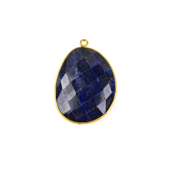 Lapis 22x30mm Faceted Free Form Drop with a Gold Plated Brass Bezel and Loop - 1 per bag
