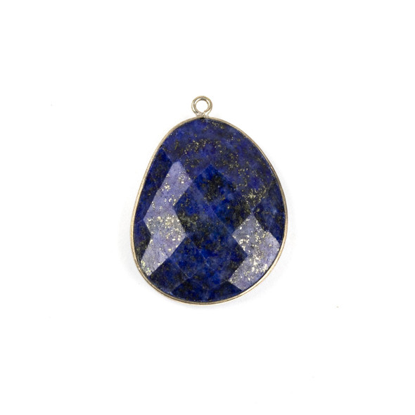 Lapis 22x30mm Faceted Free Form Drop with a Silver Plated Brass Bezel and Loop - 1 per bag
