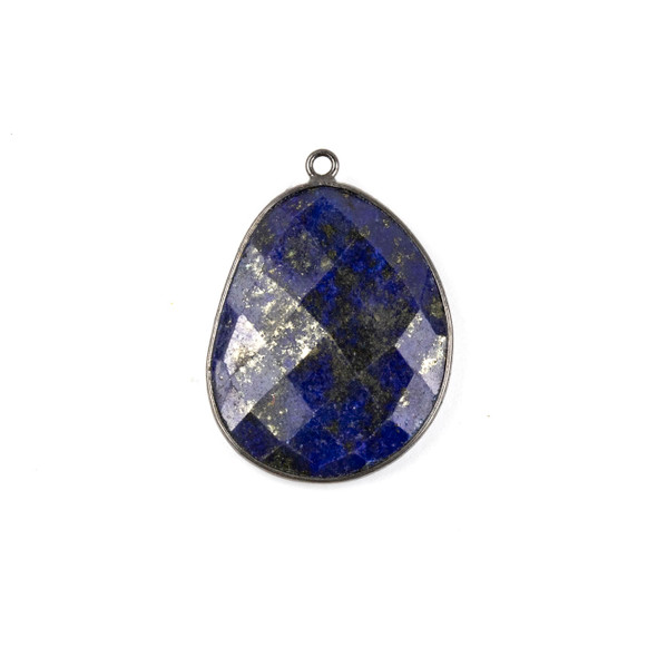Lapis 22x30mm Faceted Free Form Drop with a Gun Metal Plated Brass Bezel and Loop - 1 per bag