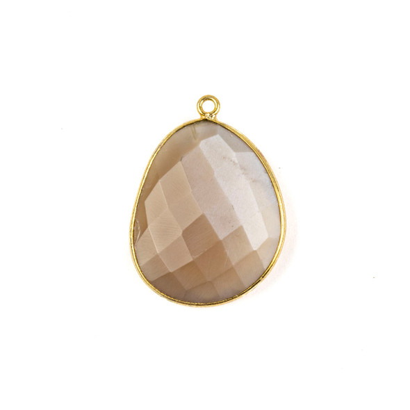 Mystic Moonstone 22x30mm Faceted Free Form Drop with a Gold Plated Brass Bezel and Loop - 1 per bag