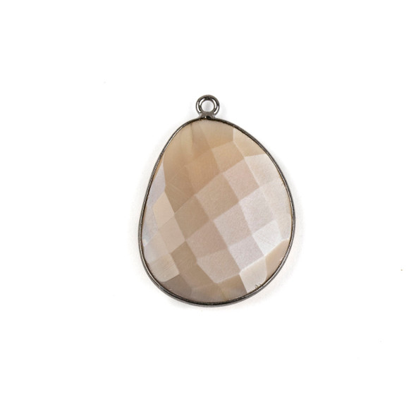 Mystic Moonstone 22x30mm Faceted Free Form Drop with a Gun Metal Plated Brass Bezel and Loop - 1 per bag