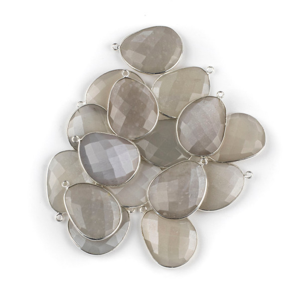 Grey Moonstone 22x30mm Faceted Free Form Drop with a Silver Plated Brass Bezel and Loop - 1 per bag