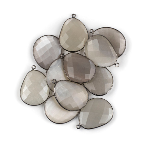 Grey Moonstone 22x30mm Faceted Free Form Drop with a Gun Metal Plated Brass Bezel and Loop - 1 per bag