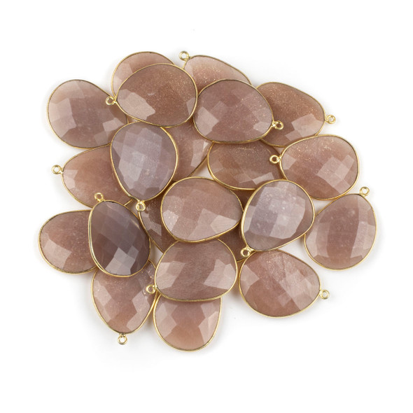 Peach Moonstone 22x30mm Faceted Free Form Drop with a Gold Plated Brass Bezel and Loop - 1 per bag