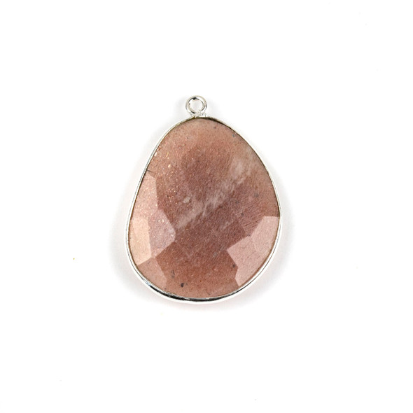Peach Moonstone 22x30mm Faceted Free Form Drop with a Silver Plated Brass Bezel and Loop - 1 per bag