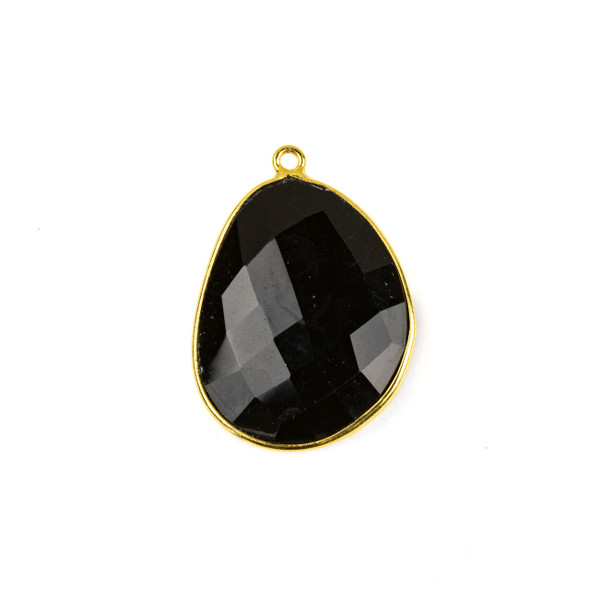Onyx 22x30mm Faceted Free Form Drop with a Gold Plated Brass Bezel and Loop - 1 per bag