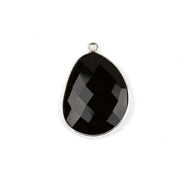 Onyx 22x30mm Faceted Free Form Drop with a Silver Plated Brass Bezel and Loop - 1 per bag