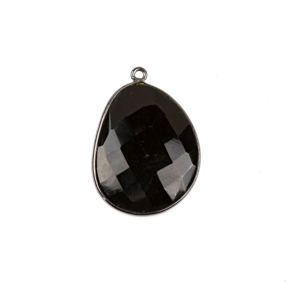 Onyx 22x30mm Faceted Free Form Drop with a Gun Metal Plated Brass Bezel and Loop - 1 per bag
