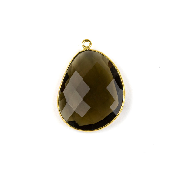 Smoky Quartz 22x30mm Faceted Free Form Drop with a Gold Plated Brass Bezel and Loop - 1 per bag