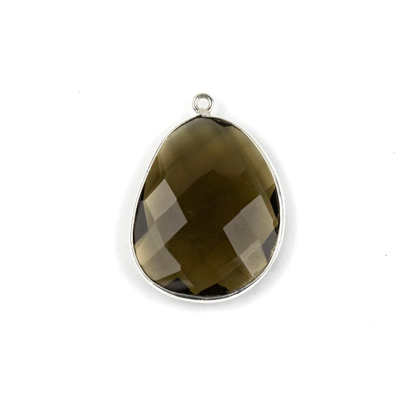 Smoky Quartz 22x30mm Faceted Free Form Drop with a Silver Plated Brass Bezel and Loop - 1 per bag