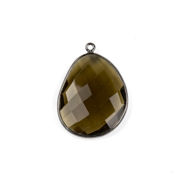 Smoky Quartz 22x30mm Faceted Free Form Drop with a Gun Metal Plated Brass Bezel and Loop - 1 per bag