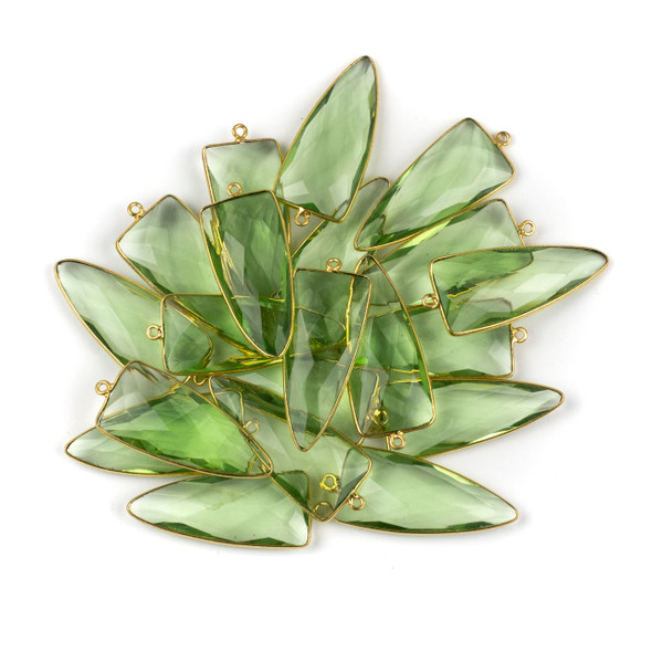 Green Amethyst 16x40mm Faceted Dagger Drop with a Gold Plated Brass Bezel and Loop - 1 per bag