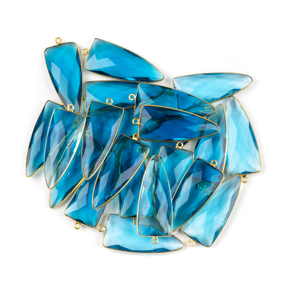 London Blue Quartz 16x40mm Faceted Dagger Drop with a Gold Plated Brass Bezel and Loop - 1 per bag