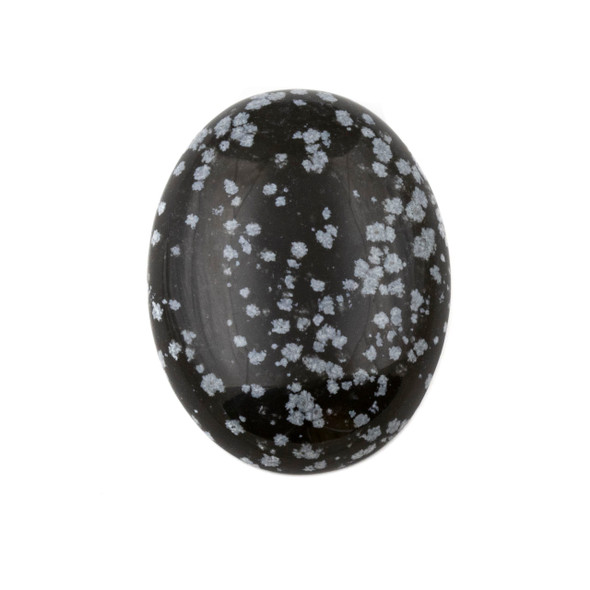 Snowflake Obsidian 30x40mm Oval Cabochon - 1 per bag