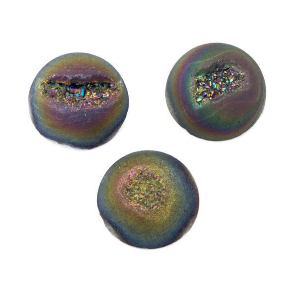 Rainbow Druzy Agate 20mm Coin Cabochin - 1 per bag