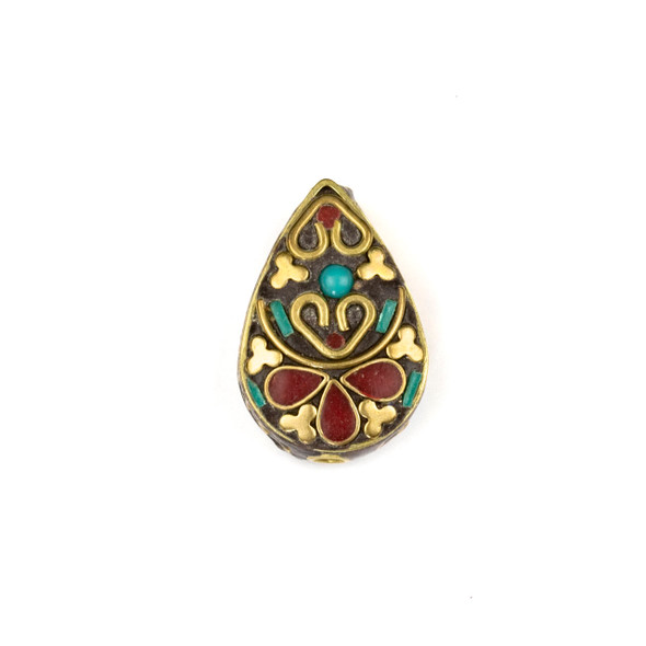 Tibetan Brass 17x25mm Teardrop Bead with Hearts and Red Coral and Turquoise Howlite Inlay - 1 per bag