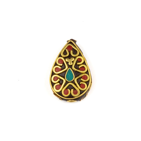 Tibetan Brass 18x26mm Teardrop Bead with Red Coral Hearts, Clover, and Turquoise Howlite Teardrop Inlay - 1 per bag