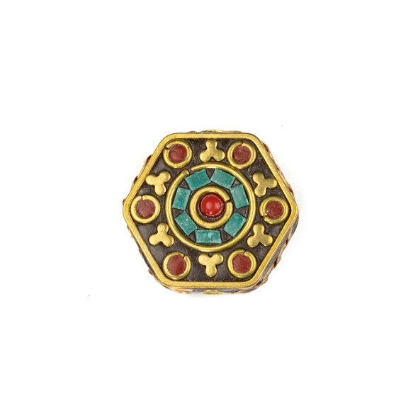 Tibetan Brass 24mm Hexagon Bead with Red Coral Circles, Clover, and Turquoise Howlite Inlay - 1 per bag