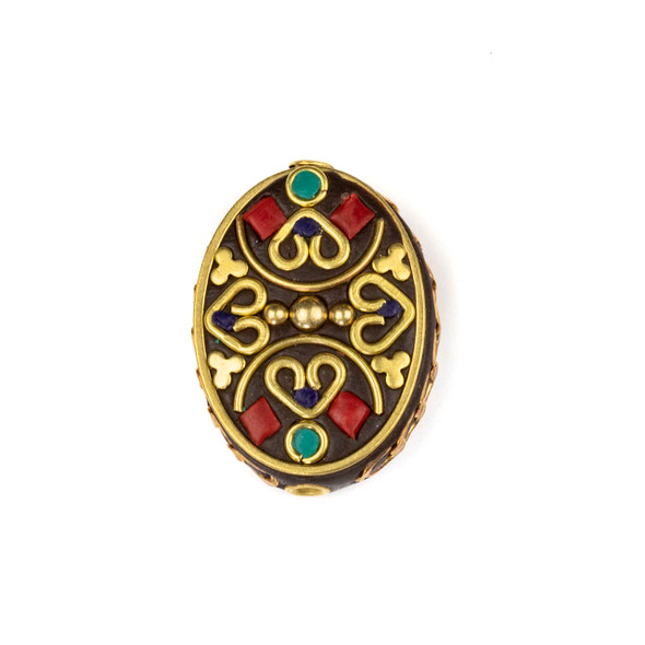 Tibetan Brass 20x30mm Oval Bead with Hearts, Clovers, and Red Coral and Turquoise Howlite Inlay - 1 per bag